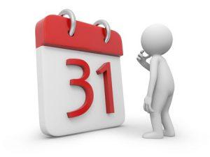 21725835 - a 3d person thinking face to a calendar