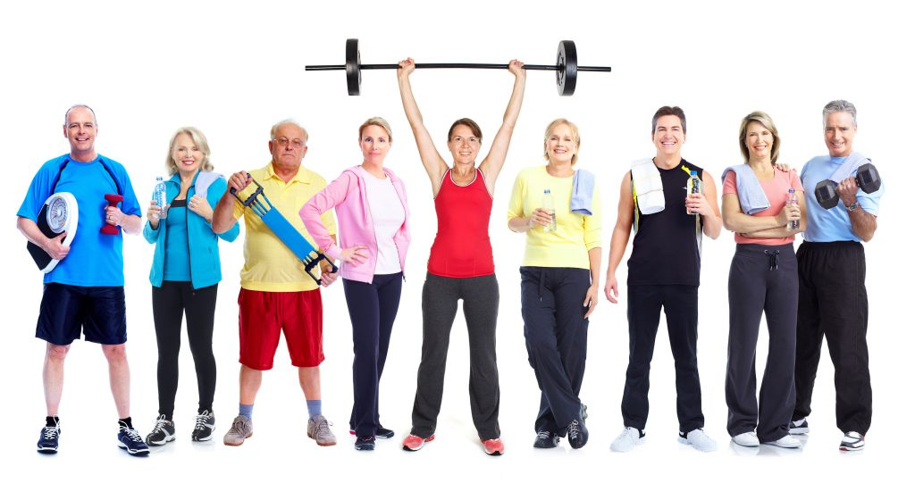 44873401 - group of healthy fitness people isolated over white background.
