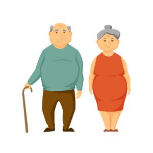 60390770 - sad old fat couple stand together. unhappy elderly obesity man and women. sad old couple vector illustration. cartoon elderly man and woman. unhappy overweight adult family. worried old couple.