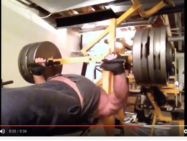 Brian Patterson bench pressing 610 pounds